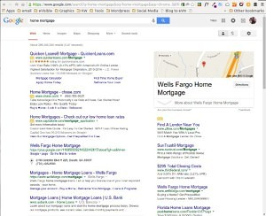 "Google Search Engine Results Page for ""home mortgage"" with ads top and right."