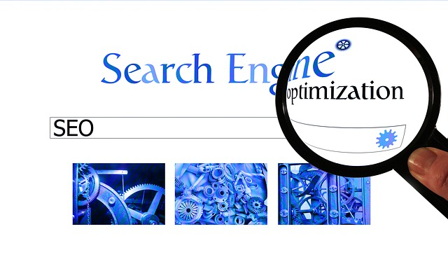 "picture of search engine home page, labeled ""Search Engine Optimization"" through a magnifying glass"